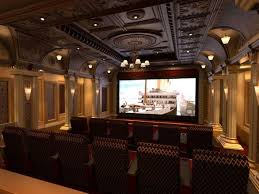 interior awesome theater room design with artistic ceiling and