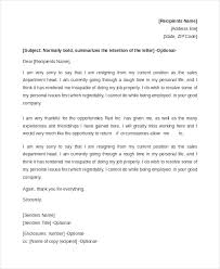 sample resignation letter example 8 free documents in doc