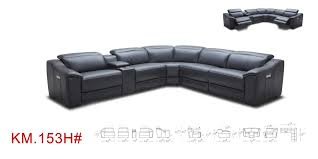Sofas With Recliners Divani Casa Gentry Modern Grey Eco Leather Sectional Sofa W