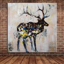 online get cheap deer oil painting aliexpress com alibaba group unframed hand painted animal abstract deer oil paintings for living room wall decoration modern canvas art wall mural picture