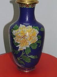 Antique Cloisonne Vases Vintage Cloisonne 10 Vase Enamel Stone Brass Or Plated Copper