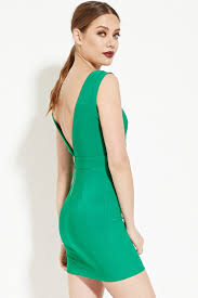 forever 21 v cut bodycon dress in green lyst
