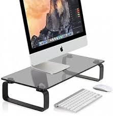 Laptop Riser For Desk Stand Glass Clear Desk Computer Monitor Laptop Riser Slim Shelf