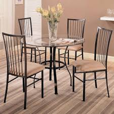 round glass top table with metal base clear glass top modern 5 pc round dinette set w black frame