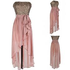 modern strapless sequins high low blush long bridesmaid dress with
