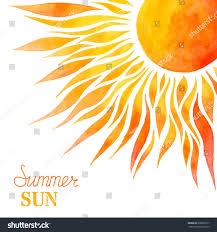 watercolor summer sun background bright handpainted stock vector