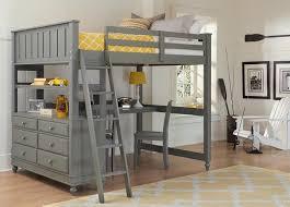 boardwalk gray full size study loft bed