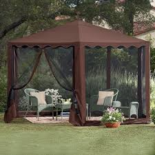 country style patio ideas with brown waterproof gazebo tent at bed
