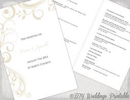 wedding program catholic catholic wedding program template chagne scroll