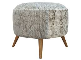 ottoman with 4 stools grey round ottoman upholstered ottoman vintage fabric furniture
