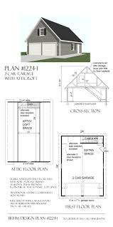 1 5 Car Garage Plans 2 Car Attic Roof Garage With Shop Plans 864 5 By Behm Design