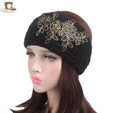 knit headband 2017 new winter knit headband crochet elastic turban with metallic