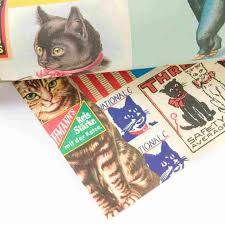 cat wrapping paper vintage cats gift wrap sheet by cavallini co