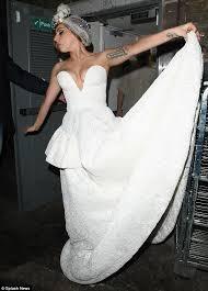of frankenstein wedding dress gaga sports revealing wedding dress to with