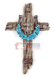 Cross Wall Decor by Turquoise Horseshoe Concho Decorative Wall Cross Faux Wood Barbed