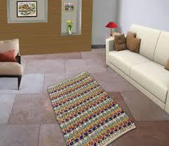 Woven Throw Rugs Recycled Hand Woven Striped Rug Floor Runner Dari Rag Cotton Jute