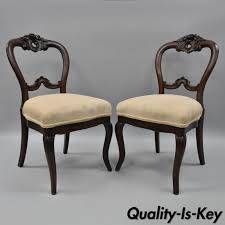 pair of antique victorian gany balloon back parlor side chairs fl carved