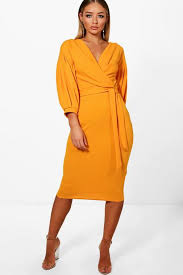 boo hoo clothing the shoulder wrap midi bodycon dress boohoo