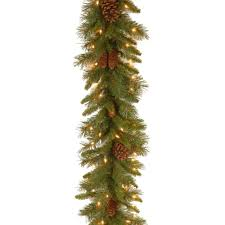 Garland With Lights 9 Ft Pine Cone Garland With Clear Lights Pc 9glo 1 The Home Depot