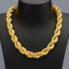 big rope necklace images Hip hop big long rope necklace for men gold color thick hippie jpg