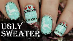 nail art ugly nail art christmas sweater youtube duckling