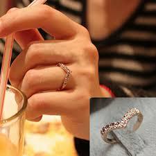 simple cool rings images New fashion unique simple chevron v shape rhinestone rings women jpg