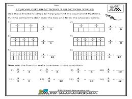 equivalent fractions fraction strips 3rd 4th grade worksheet
