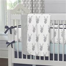 silver gray deer head crib sheet carousel designs