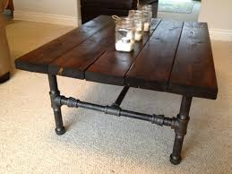 Rustic Side Table Coffe Table Brown Rectangle Wood And Metal Rustic Coffee Table