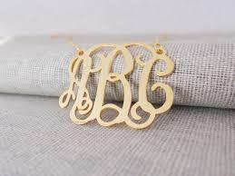 three initial monogram necklace gold monogram necklace gold monogrammed initial necklace