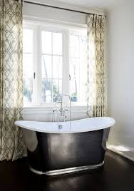 Fabric Drapes Fioretto Sprout Fabric Curtains Transitional Bathroom