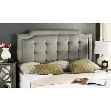 safavieh saphire pewter upholstered tufted headboard queen