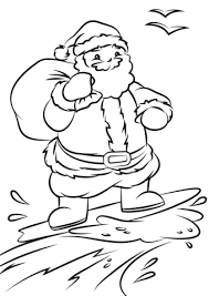 santa surfing coloring free printable coloring pages