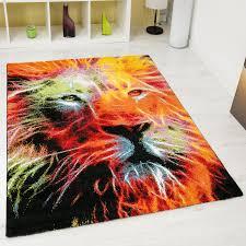 designer teppich trendiger designer teppich mit löwenkopf muster bunt ci013