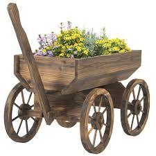 vintage garden wood wagon flower planter pot stand