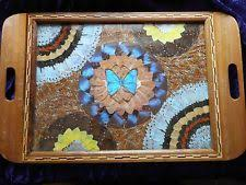 butterfly serving platter vintage 1940s era inlaid wood tray decorated with iridescent blue