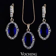 blue crystal necklace set images Fashion design crystal jewelry 18k gold plated big blue cz stone jpg