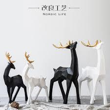 deer home decor modern creative geometry resin deer figurines vintage elk statue