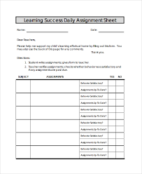 Sheet Template Sle Assignment Sheet Template 9 Free Documents In