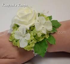 white wrist corsage keepsake range silk white and green white hydrangea wrist