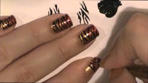 tiger stripe animal print nail art design youtube