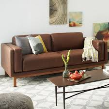 west elm leather sofa reviews dekalb leather sofa 85 quot leather sofas living rooms and