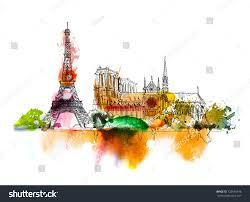 sketch notre dame de paris sketch stock illustration 725640148