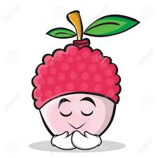 lychee fruit drawing praying face gesture illustrated in lychee cartoon character