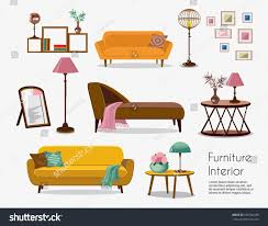 interior accessories for home interior sofa sets home accessories furniture stock vector
