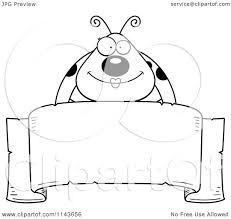 banner coloring pages cartoon clipart of a black and white happy ladybug over a ribbon