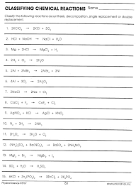 common worksheets 2 4 chemical reactions worksheet answers