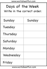 days of the week worksheet printable worksheets pinterest
