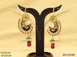 gujarati earrings morni paan style bridal antique earrings manek ratna