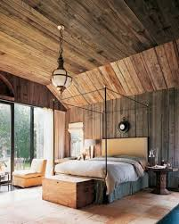 charming log cabin room ideas with antique brass pendant light